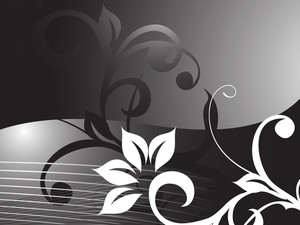 Floral Vector With Swirl And Curve Elements In Graient Black