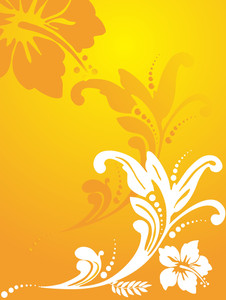 Floral Vector With Swirl And Curve Elements In Graient Yellow