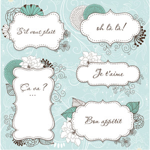 Floral Vintage Frames In French Style