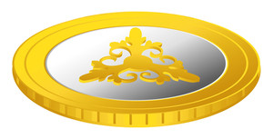 Flourish Gold Coin Vector Element