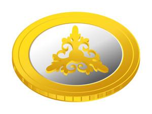 Flourish Gold Coin Vector
