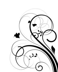 Flourish Silhouette Bird Shape