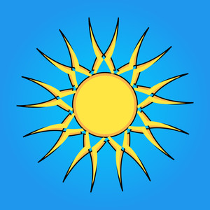 Flourish Sun Design Element