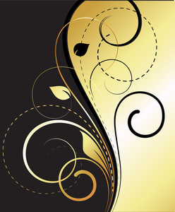 Flourish Swirls Golden Vector Background