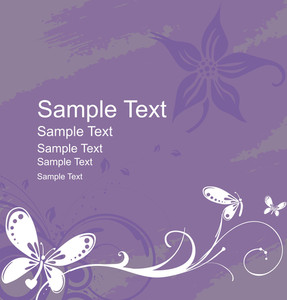 Flower And Butterfly With Sample Text In Purple