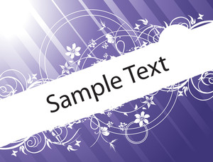 Flower Banner Vector For Sample Text In Blue