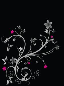 Flower Design On Black Background
