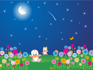 Flower Garden In The Moon Light