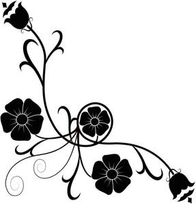Flower Silhouettes Corner