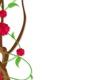 Flowers Branch Border Design Vector