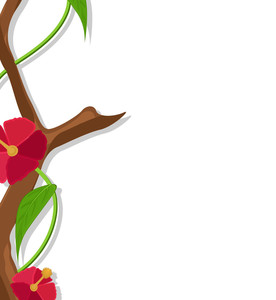 Flowers Branch Vector Greeting Design