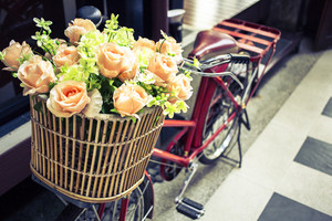 Flowers on vintage bicycle