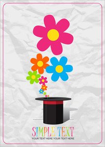 Flowers Taking Off From A Box. Abstract Vector Illustration.