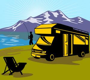 Fly Fisherman Fishing Mountains Camper Van