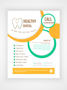 Flyer Template or Brochure layout for Medical Care and Healthy Dental concept.