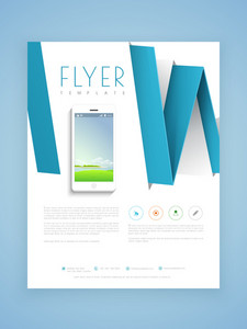 Creative professional flyer template or brochure design with smartphone for technology concept.