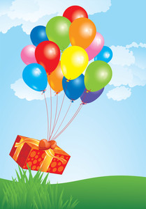 Flying Balloons With Gift Box. Vector.