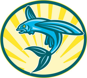 Flying Fish Jumping Retro Woodcut