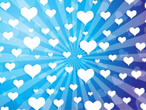 Flying Hearts On Blue Background