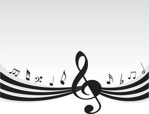 Flying Music On Grey Background