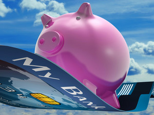 Flying Pig Shows Savings Bank Flying