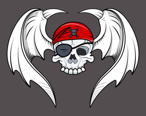 Flying Pirate Skull - Vector Cartoon Illustration