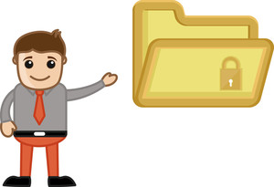 Folder Encryption - Vector Character Cartoon Illustration