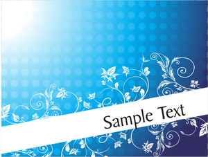Foliage And Swirls Design For Sample Text In Gradient Blue