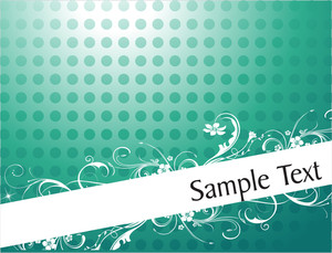 Foliage And Swirls Design For Sample Text In Gradient Green