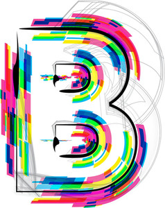 Font Illustration. Letter B. Vector Illustration