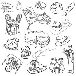 Lebensmittel Doodles. Elegante Küche.