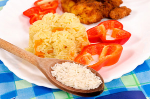 Food Plate With Raw Rice