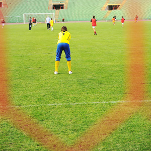 Football, children, stadium, net and goal