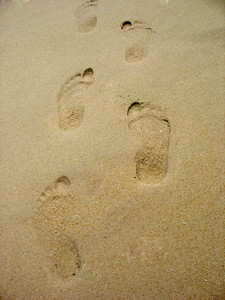 Footprints in the sand on the beach.  This can be used for a wide range of concepts.