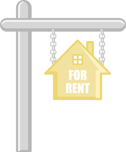 For Rent - Real Estate Concept - Vector Character Cartoon Illustration