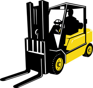 Forklift Truck And Driver At Work