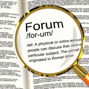Forum Definition Magnifier Showing A Place Or Online Arena For Discussion And Networking
