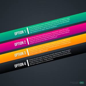 Four Colorful Diagonal Options On Gray Background.