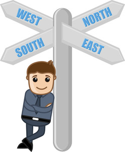 Four Directions Sign Board Vector Cartoon