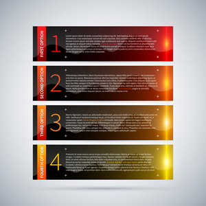 Four Glossy Banners With Glowing Stripes And Numbers From One To Four. Useful For Tutorials Or Advertising.
