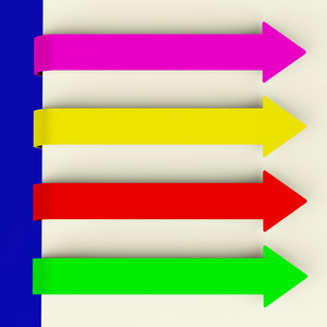 Four Multicolored Long Arrow Tabs Over Paper For Menu List Or Notes