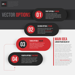 Four Numbered Vector Options. Eps10.