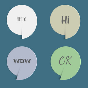 Four Paper Speech Bubbles