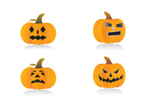 Four Pumpkins With Different Expressions