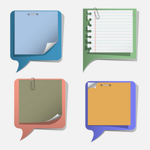 Four Torn Paper Speech Bubbles