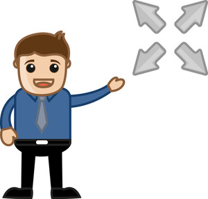 Four Ways Arrow - Vector Character Illustration