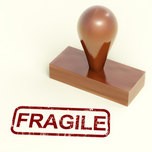 Fragile Stamp Showing Breakable Products For Delivery