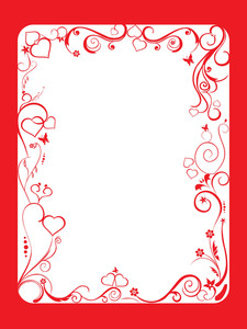 Frame With Floral And Hearts On White Background