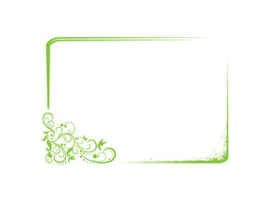 Frame  With Flowers Corner In Green