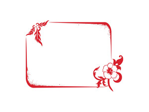 Frame With Red Flower And Leaf